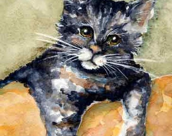 Kitty On a Couch A2501 Original Watercolor Portrait