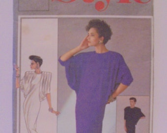 1980s Shift dress Style 4494 Deep Dolman sleeves Size 12 Misses' Vintage Sewing Pattern Maxi two lengths Easy Bat Wing Sleeves UNCUT