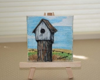"Mini Birdhouse Original Painting with Easel, 3"" x 3"""