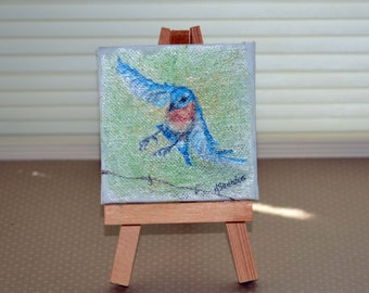 "Mini Flying Bluebird, Original Bird Painting with Easel, 3"" x 3"""