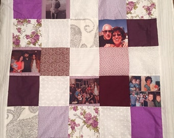 Memory Photo Collage Blanket. Grandmother Photo Gift Ideas for Grandma Gift. Personalized Photo Quilt. Custom Photo Quilt,nostalgic photo
