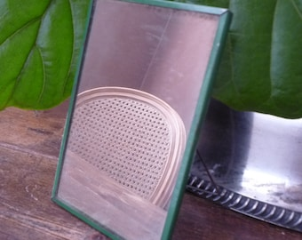Vintage Metal Shaving Camping Mirror Green Primitive