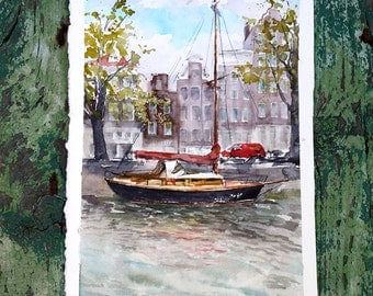 Watercolor painting - yaht from Amsterdam, Netherlands