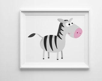 Zebra printable art, nursery decor, kids prints, digital print, wall art printable nursery print, zebra print illustration print digital art