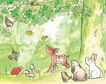 Green Forest illustration | Woods & animals | Postcard for kids | Fairytale |