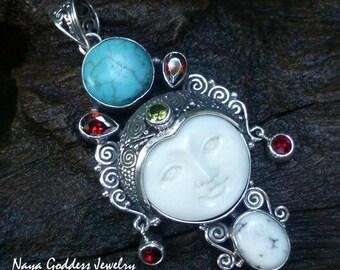 Silver and Mixed Gem Naya Goddess Pendant NG-1278