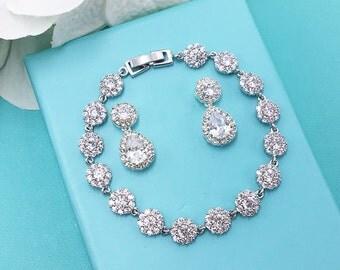 Bridal Earrings Set, Wedding Bracelet Earrings Set, Bride Jewelry, CZ Crystal Earrings Set, Wedding Jewelry, Wedding Earrings 469726828