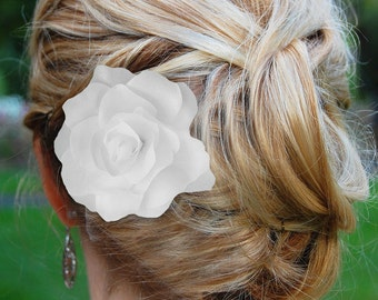 Ivory Hair Flower, Gardenia Hair Flower, wedding hair accessories, wedding flower clip, hair flower clip, ivory hair flower