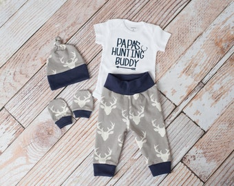 Papa's Buddy Baby Deer Antlers/Horns Bodysuit, Hat, Scratch Mittens Set with Grey and Navy+ Hunting Bodysuit Newborn Coming Home