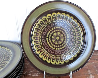 Mikasa Majorca Dinner Plate, Mediterranean Terrazo 7502, Mikasa Brown And Green Retro Stoneware Dishes