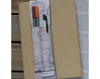 Notebook pen holder - Stamps