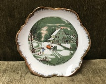 "Currier and Ives Collectors Plate, ""The Homestead in Winter"", Gold Trim,  Hanging Plate, Americana Plate, Winter Scene Plate"