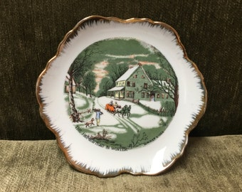 """Currier and Ives Collectors Plate, """"The Homestead in Winter"""", Gold Trim,  Hanging Plate, Americana Plate, Winter Scene Plate"""