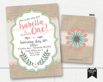 Garden party, boho, burlap & lace Birthday invitations. First birthday or any age, color or occasion. Digital or Printed 5 x 7