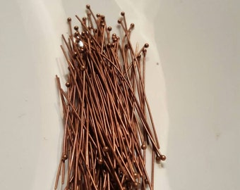 Ball Head Pins, Copper Head Pins 22 Gauge 2 Inches Qty 100