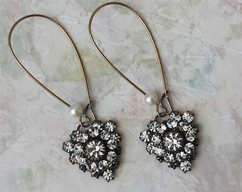 Crystal Heart Earrings Vintage Swarovski Heart Earrings Antique Brass Heart Earrings Art Deco Earrings Crystal Drop Earrings