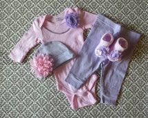 Baby Girl, 0-3 Months, Newborn Take Home Outfit, Purple Beanie, Purple Pants, Pink Shabby Chiffon Flowers, Lavender Pearl Necklace, Socks