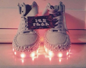 Customised crystal and pearl light up Trainers