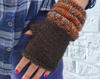 Thick Alpaca/Wool Fingerless Gloves Mittens – Dark Brown -  READY TO SHIP