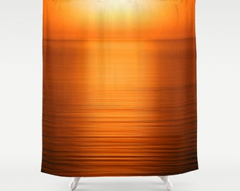 Deep Orange Shower Curtain Sunset Bathroom Decor Gold