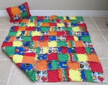 Angry Birds Blanket for Baby/Toddler  - toddler quilt, boy rag quilt, colorful rag quilt, free pillow