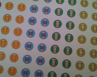 STICKERS- Round Coffee Cup Icon- 1/2 inch Circle- Perfect for Planners