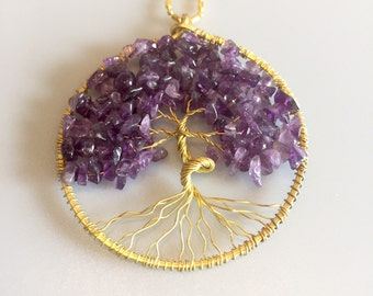 Tree of Life Pendant - Amethyst & Gold Wire Wrapped - Tree Pendant Necklace - Handmade Jewellery