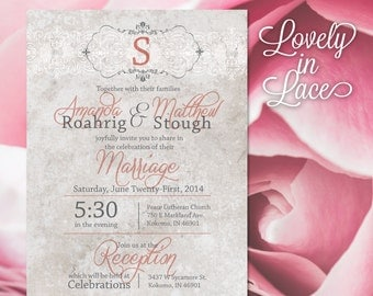 Wedding Invitation and RSVP—Vintage Pink Lace