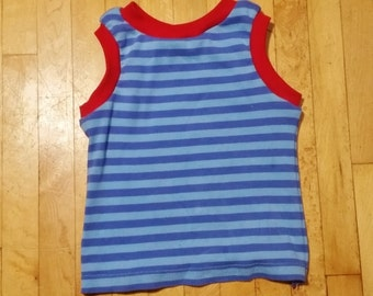 Upcycled knit toddler tank top; 2T+
