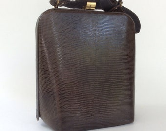 Lizard Box Purse, Vintage Exotic Skin Pocketbook, Mid Century Reptilian Leather Handbag, Brown Kelly Style Top Handle Bag, Mad Men Fashion