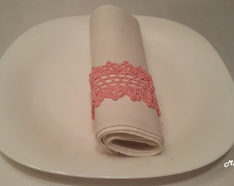 Crochet Napkin Rings, 100% Cotton, Sets of 4,8,12, Pink.
