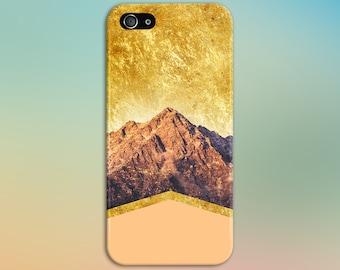 Peach Chevron Gold Glitter x Mountain Case, iPhone 7, iPhone 7 Plus, Tough iPhone Case, Galaxy s8, Samsung Galaxy Case, Note 5, CASE ESCAPE