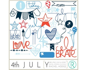 4th July Set: Photoshop Brushes, Digital Cut Files & Clip Art