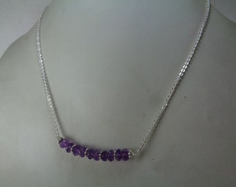 Sale, Natural Amethyst Beaded Necklace, Bar Necklace, February Birthstone Necklace