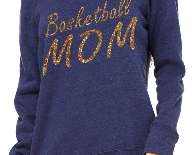 Basketball Mom Sweatshirt. Basketball Clothing. Basketball Shirt- Comfy glitter Oversized pullover, off the shoulder, slouchy Shirts.