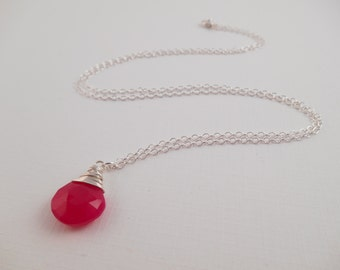 Fuchsia Sterling Necklace - Fuchsia Chalcedony Wire Wrapped Briolette Sterling Silver Necklace