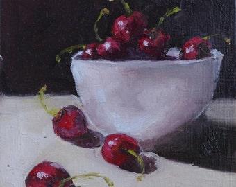 original daily painting cherries