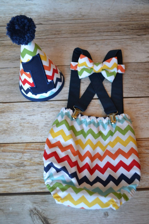 Boy Cake Smash Outfit Rainbow Chevron Cake Smash Outfit Boys