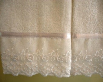 ORGANZA LACE Fingertip or Guest Towels (2) White 100% Cotton Velour with White Organza Trim New custom-embellished