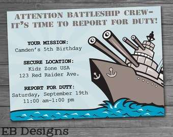 Battleship Invitation