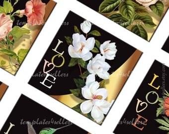 Love Flowers 1x1 inch Square Images Digital Collage Sheet  Scrapbooking Pendants Printable Original  Printable 4x6 inch sheet 300