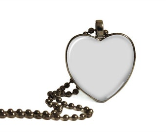 Jewelry Digital Photo Template Gun Metal Heart Shape pendant 1 inch setting with ball chain. No graphics tool needed. Ask me How.  1073