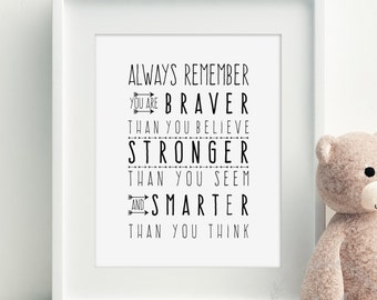 Always Remember You are Braver Than You Believe Wall Print / Monochrome Print / Inspirational Quote / Printable Instant Download Wall Art