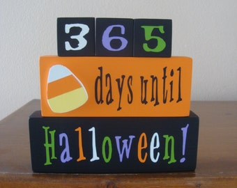 Halloween Countdown REVERSIBLE Blocks - Days Until /Weeks Until, Halloween Decor, Trick or Treat Home Decor, Fall, Halloween Sign