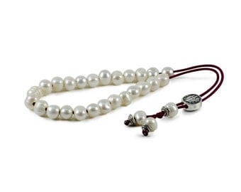 White Freshwater Pearls Greek Worry Beads Komboloi|10mm|Bordeaux (red) Cord