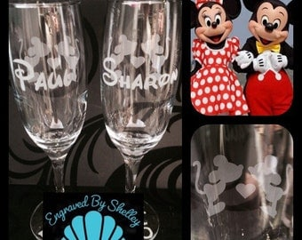 Hand Engraved Disney Wedding Glasses! Minnie & Mickey Mouse. Personalise With Names And Date. Custom Made!