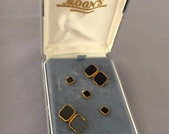 Elegant Tuxedo Stud Set Vintage Black & Gold Cuff Links Gold Filled GF- Groom, Groomsmen, Father of the Bride/Groom, Black Tie, Wedding