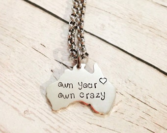 Hand Stamped Personalised Sterling Silver Family Australia Pendant Necklace