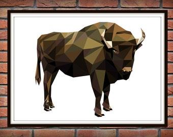 Geometric Bull, color poligonal Print, Woodland Animals, Bull Geometric Wall Art *220*