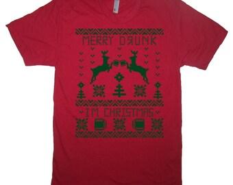 raglan merry drunk I'm christmas shirt funny baseball